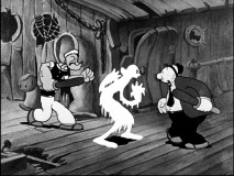 "Popeye and Wimpy find a ghost (that looks suspiciously like Olive Oyl) in between them in ""Shiver Me Timbers!"""