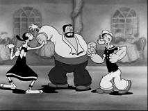Popeye seeks to one-up Bluto on the dance floor.