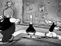 "Bluto and Popeye both pull on the same bride (Olive Oyl) in ""For Better or Worser."""