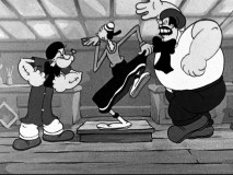 Sculptor Popeye and painter Bluto have some artistic differences over Olive's ideal modeling stance.