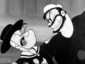 "We get close to life-long rivals Popeye and Bluto as they get close to each other in ""Morning, Noon and Night Club."""