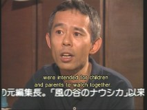 Producer Toshio Suzuki speaks briefly in an interview.