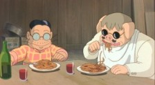The crimson pig enjoys a delicious bowl of spaghetti. Don't mess around with the guy in shades, oh no!