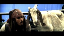 Johnny Depp woos over his goat co-star in the blooper reel. What a kid!