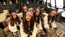 The multiple Captain Jack Sparrow stand-ins relax on-set when they're not filming or confusing people's vision.
