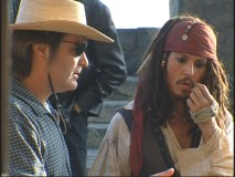 "Johnny Depp in character on the set in ""Becoming Captain Jack."""