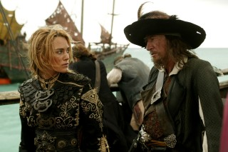 "Elizabeth Swann (Keira Knightley) and Captain Barbossa (Geoffrey Rush) are on the same side in ""At World's End."" Or are they?"