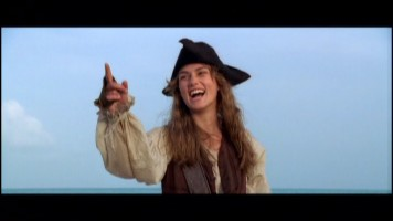 "Keira Knightley cracks up in ""Bloopers of the Caribbean."""