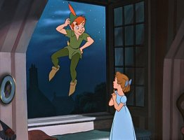 Peter Pan stays afloat outside Wendy Darling's bedroom window.