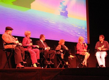 The Peter Pan filmmakers' discussion panel (left to right): Eric Goldberg, Margaret Kerry, Paul Collins, June Foray, Kathryn Beaumont, and emcee Don Hahn.