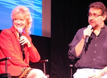 Kathryn Beaumont, the voice of and live action model for Wendy Darling, smiles as veteran Disney producer Don Hahn proves to be a lively Master of Ceremonies.