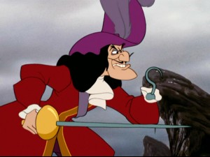 Captain Hook has a hook for one hand, while the other wields a sword. Either way, he can cut ya.