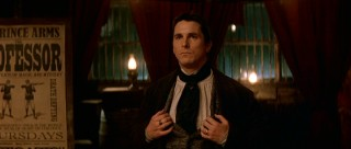 "Christian Bale (of Disney's ""Newsies"" portrays Alfred Borden, Angier's friend-turned-rival, a calculated performer."