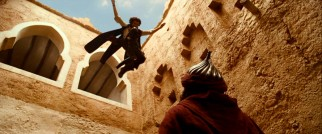 Dastan (Jake Gyllenhaal, or quite likely a stunt double) jumps down from a window in one of the parkour bits evidently paying tribute to the video game.