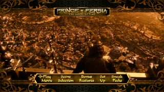 A panoramic view of 6th Century Persian Empire, Jerry Bruckheimer-style, appears in the DVD's main menu montage.
