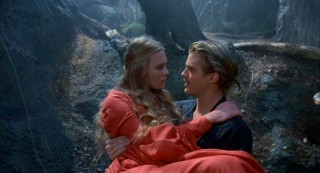 Princess Buttercup (Robin Wright Penn) is supported by her Westley (Cary Elwes) in the forest of ROUS's (Rodents of Unusual Size).