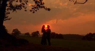 "Sun sets on the silhouetted lovers of ""The Princess Bride."""