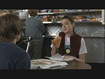 Mia eats her pizza backwards in a deleted scene.