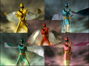 Suddenly remembering that they are better fighters when in superhero form, the Power Rangers begin their mystical morphosis.