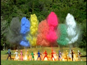 Ever wonder what would happen when two sets of Power Rangers simultaneously let it rip?