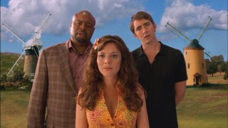Emerson (Chi McBride), Chuck (Anna Friel) and Ned (Lee Pace) are baffled to find an off-screen Olive in a town of CG windmills.