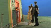 "A scene from ""Pigeon"" is shown before the CG background is added in post-production."