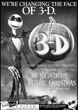 "An ad for ""The Nightmare Before Christmas"" in Disney Digital 3-D"