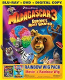 Madagascar 3: Europe's Most Wanted: Blu-ray + DVD + Digital Copy + Rainbow Wig combo pack cover art -- click to buy from Amazon.com