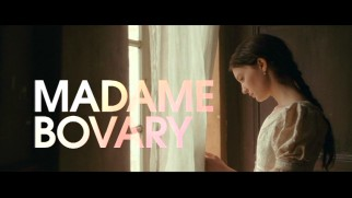 Madame Bovary looks out the window beneath the title card of her theatrical trailer.