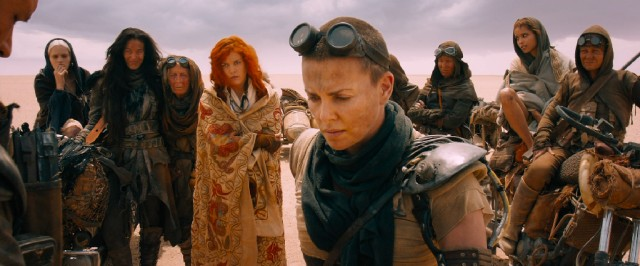 Crew-cutted amputee Imperator Furiosa (Charlize Theron) emerges as a heroine for her defiance of Immortan Joe.