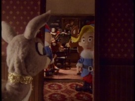 "The famous closing shot of ""The Godfather"" is parodied in the stop-motion Christmas short ""The Reinfather."""