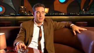 "Jeffrey Dean Morgan, looking as always like Javier Bardem, speaks from the Atlantis Lounge in ""Starz Studios: Magic City."""