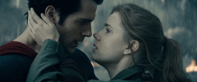 Superman (Henry Cavill) and Lois Lane (Amy Adams) share a tender moment that could only be spoiled by a nonsensical exchange of dialogue.