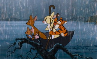 Roo, Kanga, Rabbit, and Tigger row to safety in an upside-down umbrella in the floods that follow the blustery Windsday.