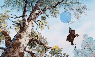 "The dripping ""Little Black Raincloud"" takes flight on a balloon in an attempt to score honey from a honey tree."
