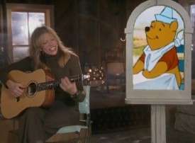 Winnie the Pooh apparently approves of Carly Simon's take on his theme song in this recycled music video.