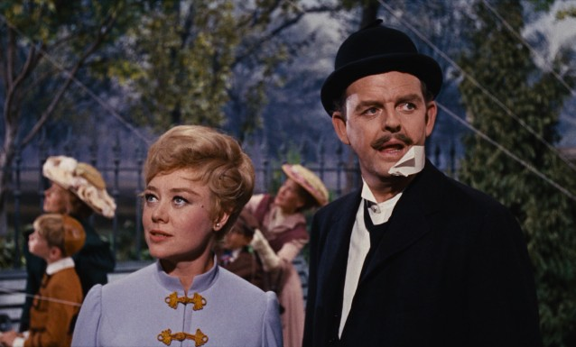 Winifred (Glynis Johns) and George Banks (David Tomlinson) find joy by flying kites with their children in the film's bittersweet ending.
