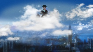 The Blu-ray's main menu has Mary Poppins sitting on a cloud above an animated matte painting of 1910 London.