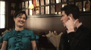 "Ashley Brown (Mary Poppins) and Gavin Lee (Bert) talk Broadway's ""Mary Poppins"" at the famed Sardi's."