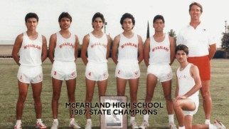 "The real Coach White and six of his state title-winning runners appear in this 1987 photo from ""Inspiring McFarland."""