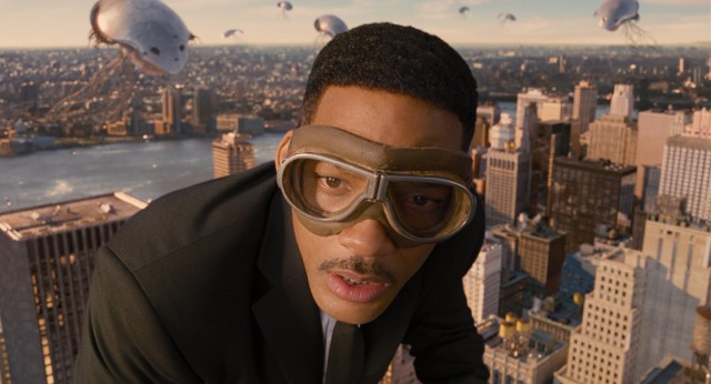 With alien invasion in the sky, Agent J (Will Smith) prepares to time jump off a Chrysler Building eagle.