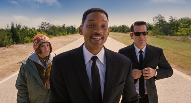 "Down in Cape Canaveral in July of 1969, Griff (Michael Stuhlbarg), J (Will Smith) and the Young K (Josh Brolin) try to save the world in ""Men in Black 3."""