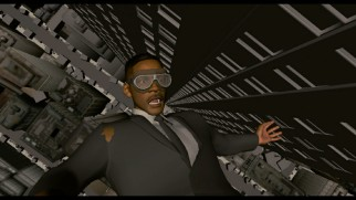 An accurate computer-animated rendering of Agent J (Will Smith) makes the time jump in the progression reel.