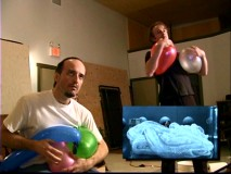 Foley artists play with balloons to create a scene's desired sound effect.