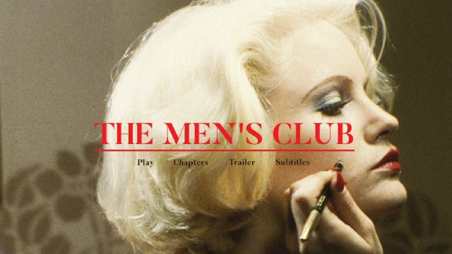 Like the theatrical poster more than thirty years earlier, Jennifer Jason Leigh's Teensy gets The Men's Club Blu-ray menu all to herself.