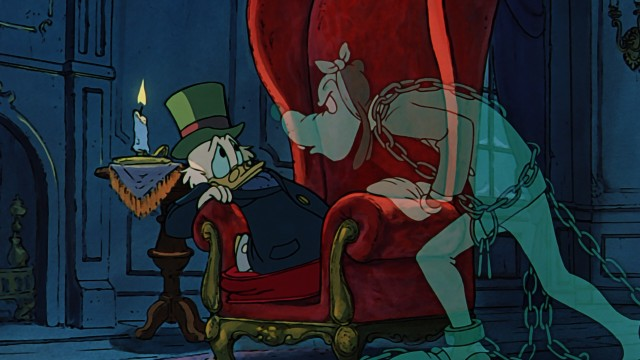 ebenezer scrooge scrooge mcduck is frightened to get a late night visit from his - Mickeys Christmas Carol