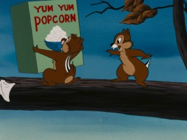 "Chip 'n Dale go crazy for popcorn in ""Corn Chips."""
