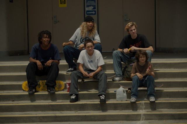 "In ""mid90s"", undersized 13-year-old Stevie (Sunny Suljic, bottom right) becomes the fifth member of a group of skateboarder friends."