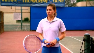 "Sue (Eden Sher) takes up tennis, a game where her niceness puts her at a disadvantage in ""The Bachelor."""