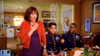 Frankie (Patricia Heaton) trots out some patriotism for the benefit of the two Marines with whom the Hecks are hosting for Thanksgiving dinner.